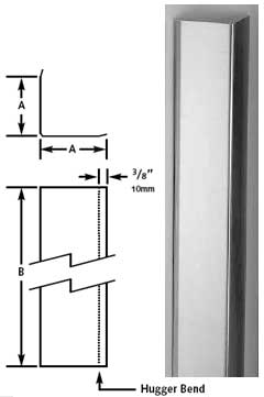 photo and diagram of stainless steel corner guards
