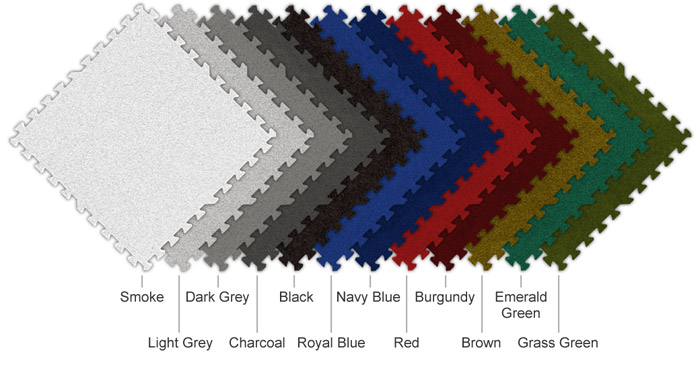 graphic of all 12 SoftCarpet color options