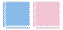 photo of blue and pink softtouch tiles