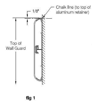 line drawing of W8 wall guard
